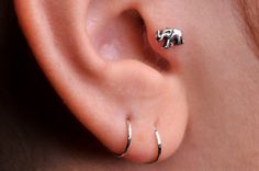 ELEPHANT / TRAGUS / Cartilage stud / Ring / Sterling Silver. Handcrafted on Etsy, $11.95
