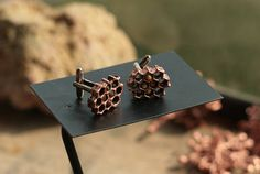 Honeycomb cufflinks, electroplated honey comb cuff links, natural comb copper electroform, eco friendly, bee, gift for him,metal sleeve link