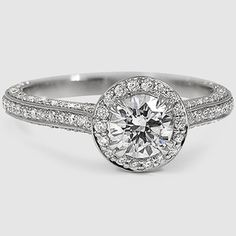 Brilliant Earth - Enchant Halo Diamond Ring - Looks good with both cushion and round center stones