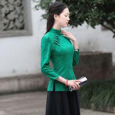 Appealing Green Lace Chinese Qipao Cheongsam Shirt - Chinese Shirts & Blouses - Women