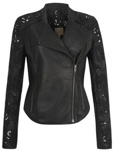 Muubaa Tureis Leather Laser-Cut Biker Jacket in Black...Delicate laser-cut detailing with mesh insets on the sleeves and back yoke give the garment a feminine finish to contrast with the distressed quality of the tumble-washed leather.