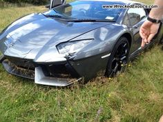 This brand new Aventador was crashed into a field right after the owner took delivery. - ass bag