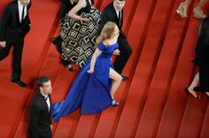Jessica Chastain in Atelier Versace at The Disappearance of Eleanor Rigby premiere during the 2014 Annual Cannes Film Festival