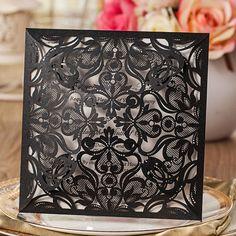 affordable shiny black laser cut wedding invitations EWWS027 as low as $2.09 elegantweddinginvites.com