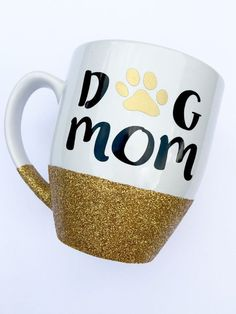 Gold Glitter Dog Mom Paw Print Custom Holiday by WoodWorxDesigns
