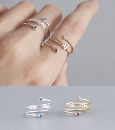Dainty Name Ring / Personalized Children Name Ring / Personalized Birthstone Ring / Birthstone Ring / Mother's Day Gift - Yellow Engagement Rings, Vintage Engagement Rings, Etsy Jewelry, Bridal Jewelry, Gold Finger Rings, Gold Ring Designs, Name Rings, Gold Diamond Wedding Band, Piercing