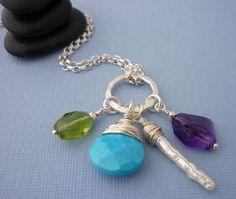 Silver and Gemstone Charm Necklace Sterling by MiShelDesigns