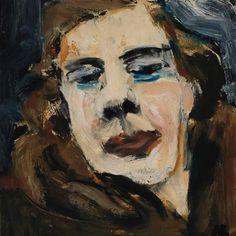 Grace Hartigan - Self Portrait in Fur; Medium: Oil on masonite; Dimensions: 14.5…