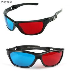 Zuczug New Black Frame Universal Plastic Glasses/Oculos/Red Blue Cyan Glass Anaglyph Movie Game Dvd Vision/Cinema Virtual Reality Glasses, 3d Glasses, Wearable Device, Soft Hair, Simple Style, Oakley Sunglasses, Red And Blue, Cinema, Stuff To Buy