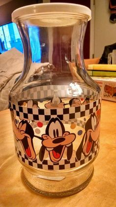 WALT DISNEY Anchor Hocking GOOFY Glass Carafe Juice Pitcher B/W Checkered w/ LID | Collectibles, Disneyana, Contemporary (1968-Now) | eBay!