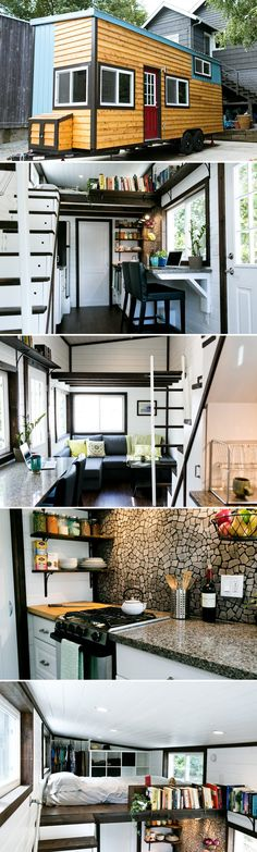 Shannon Black used his construction experience to build himself a 26' tiny house. The result was this beautifully designed house with high end finishes.