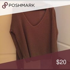 High collar cut out brown sweater Missguided The perfect sweater Missguided Sweaters V-Necks