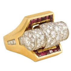 French Retro Gold, Pavé Diamond, and Calibré Ruby Ring Ruby And Diamond Necklace, Gold Diamond Rings, White Gold Diamonds, Antique Jewelry, Vintage Jewelry, Red Sapphire, Bijoux Art Deco, Fine Jewelry, Ruby Jewelry