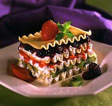 Award-winning dessert lasagna by Chef Michael Stambaugh. Photo and recipe courtesy of the National Pasta Association. November is National Pasta Month—a Pasta Recipes, Gourmet Recipes, Dessert Recipes, Cooking Recipes, Desserts, Lasagna Recipes, Chocolate Pasta, Chocolate Lasagna, Dessert Pasta
