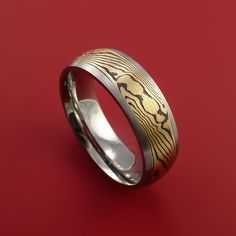 Titanium and 18K Yellow Gold Mokume Ring Custom Made to Any Size