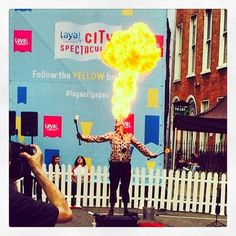 Fire eater in Dublin  #fire #fireeater #dublin #layacityspec #merrionsquare #festival #fun  For more info see www.cityspectacular.com