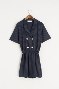 Pin Stripe Mini Jumpsuit, Navy