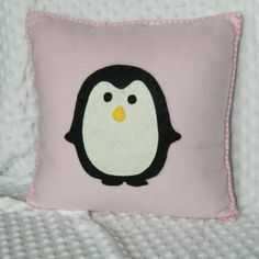 Penguin Pillow - Cute, Cuddly Soft Pink Fleece for boy or girl, birthday gift or decoration. Nursery or home decor.. $23.00, via Etsy.