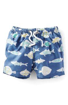 Mini Boden 'Bathers' Print Swim Trunks (Baby Boys & Toddler Boys)