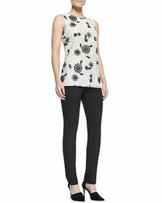 Sleeveless Floral Lace Shell & Catherine Slim Straight-Leg Pants by Lela Rose at Neiman Marcus.