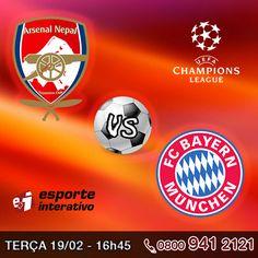 Daqui a pouco às 16h45 rola jogão da Liga dos Campeões. Arsenal vs Bayern de Munique se enfrentam nas oitavas de final. Cliente Claro Tv pode assistir pelos canais Esporte Interativo e ESPN.     E ai vai dar Arsenal ou Bayern?     http://www.clarotv.br.com/