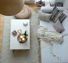 I love white with earth tones and a fluffy mat for the Living Room!