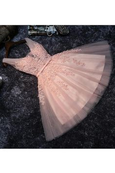 On Sale Magnificent Pink Party Dresses Skin Pink Lace V Neck Short Prom Dress Homecoming Dresses Party Gowns With Lace Back Up Dama Dresses, Pink Party Dresses, A Line Prom Dresses, Dresses For Teens, Pink Dress, Cute Dresses, Sexy Dresses, Formal Dresses, Wedding Dresses