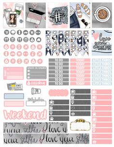 Printable Planner Stickers Love Your Selfie Weekly Kit for Planner Free, Planner Pages, Happy Planner, Scrapbook Organization, Planner Organization, Organizing, Bullet Journal Weekly Spread, Filofax, Journal Stickers