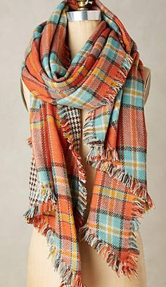 cozy plaid orange scarf