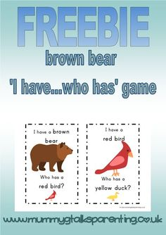 FREEBIE Brown bear, brown bear themed ' I have... who has...' game. Instructions on how to play the game are on the website. **The images in this freebie are not the same copyright illustrations that are used in the story book.**: