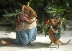 Stuffed Animals by Natasha Fadeeva - mice with berries