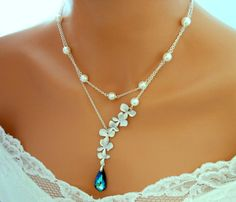 Blue Wedding Necklace Bridal Pearl Jewelry by InStyleBoutique