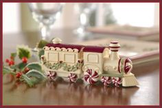 Train Salt and Pepper Shakers - Easy and simple way to decorate your home this holiday season and a festive way to present Salt and Pepper on the dinner table Set is packaged in a acetate gift box, ready to be gifted this season Link Christmas Train, Christmas 2015, Party Supply Store, Peppermint Candy, Ceramic Decor, Christmas Decorations, Holiday Decor, Holiday Tables, Vintage Holiday