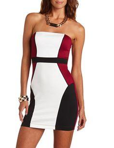 Color Block Ponte Tube Dress: Charlotte Russe