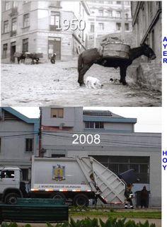 Recolección del Aseo  en dos épocas    --- Pinceladaspuerto-Fotolog  (Fotog.Mario Ortega P.)