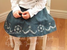 Tea Rose Home: Tutorial~Jean Skirt for Little Girl~(Got Old Jeans?)