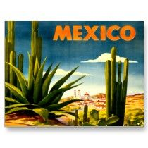 Vintage Mexico Travel Poster Postcards from The Vintage Vamp on Zazzle