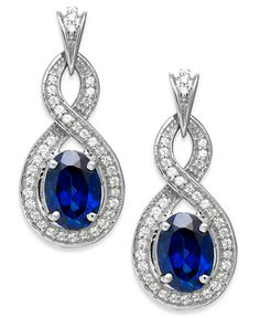 14k White Gold Sapphire (2 ct. t.w.) and Diamond (1/4 ct. t.w.) Drop Earrings