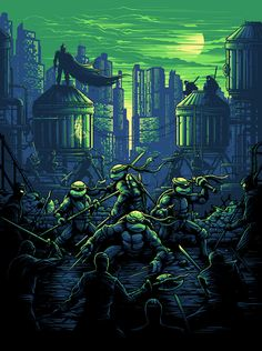 Teenage Mutant Ninja Turtles - Dan Mumford - ''Our Domain Is The Shadow'' ---- Classic Movie Posters, Movie Poster Art, Classic Cartoons, Ninja Turtles Art, Teenage Mutant Ninja Turtles, Teenage Turtles, Comic Books Art, Comic Art, Dan Mumford