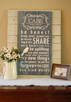 Family Rules subway art sign, featured on Vinyl Vineyards Etsy shop!  I love how it's mounted on those boards too...very cute!
