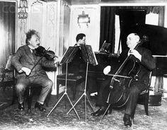 Albert Einstein plays in trio on the S. S. Deutchland on his way to America.
