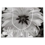 Dahlia Flowers Black & White Photography Large Gift Bag #gifts #originalgifts