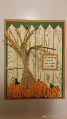 Stampin up fall card. Woodgrain little layers 2 fall whimsy and happy blessings stamp sets. Fall Cards, Holiday Cards, Christmas Cards, Halloween Cards, Fall Halloween, Pumpkin Cards, Stamping Up Cards, Thanksgiving Cards, Stamp Sets