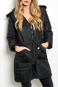 """This cozy down coat features zipper closure, self tie waist sash and hooded detail with faux fur trim.    Coat Measurements: L: 33"""" B: 17"""" W: 14""""   Jet Black Jacket by Perseverance. Clothing - Jackets, Coats & Blazers - Jackets Delaware"""