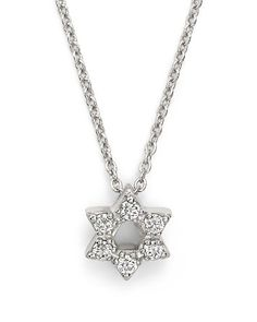 $Roberto Coin 18K White Gold Star of David Pendant Necklace with Diamonds, 16