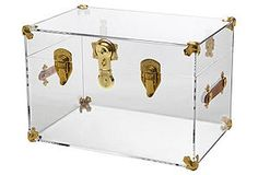 One Kings Lane - Left Bank Luxe - Payton Trunk, Clear/Brass