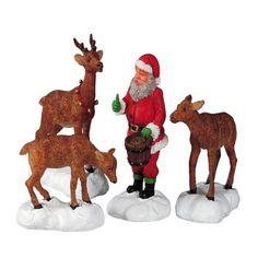 Lemax - Santa Feeds Reindeer, Set Of 4