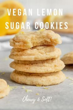 Vegan Lemon Sugar Cookies - Truly the best easy Vegan Lemon Sugar Cookies! These soft & chewy lemon cookies made from scratch a - Sugar Cookie Recipe Easy, Lemon Sugar Cookies, Chewy Sugar Cookies, Vegan Cookie Recipe, Cookie Recipes, Foods With Gluten, Vegan Foods, Vegan Dishes, Vegan Mac And Cheese