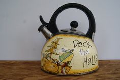 Vintage Tea Kettle Hand Painted Christmas Decor by Ramshackles
