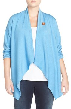 Bobeau One-Button Fleece Cardigan (Plus Size) available at #Nordstrom
